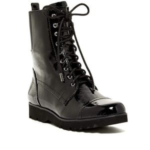 Donald pliner patent leather combat boot NWB $199